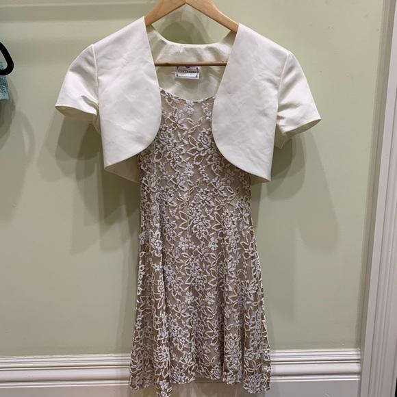 f4928139637ac6 Dresses   Beige Lace Skater Dress With White Shrug   Poshmark